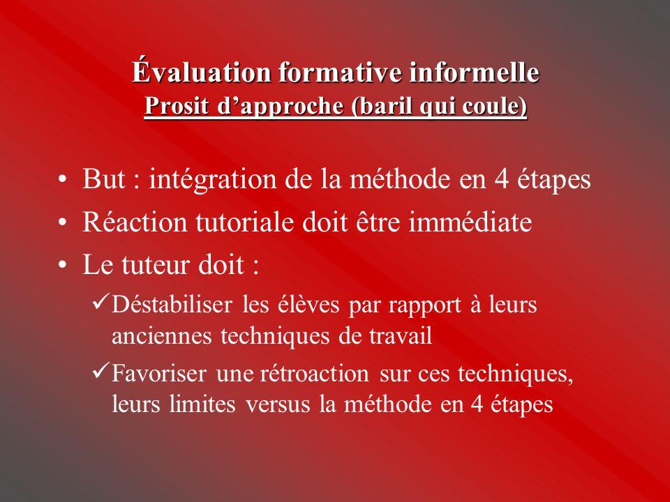 Évaluation formative informelle Prosit d'approche (baril qui coule) •But : intégration de la méthode en 4 étapes •Réaction tutoriale doit être immédia