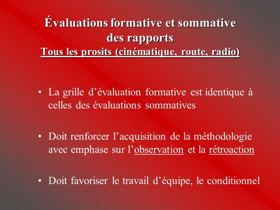 Évaluations formative et sommative des rapports Tous les prosits (cinématique, route, radio) •La grille d'évaluation formative est identique à celles