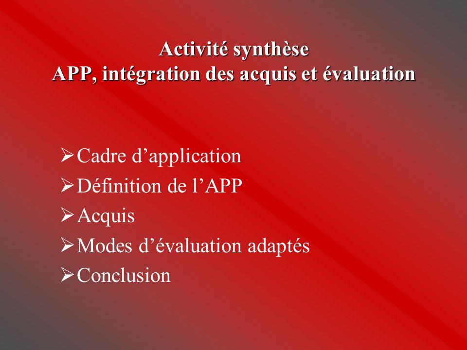 Activité synthèse APP, intégration des acquis et évaluation  Cadre d'application  Définition de l'APP  Acquis  Modes d'évaluation adaptés  Conclu