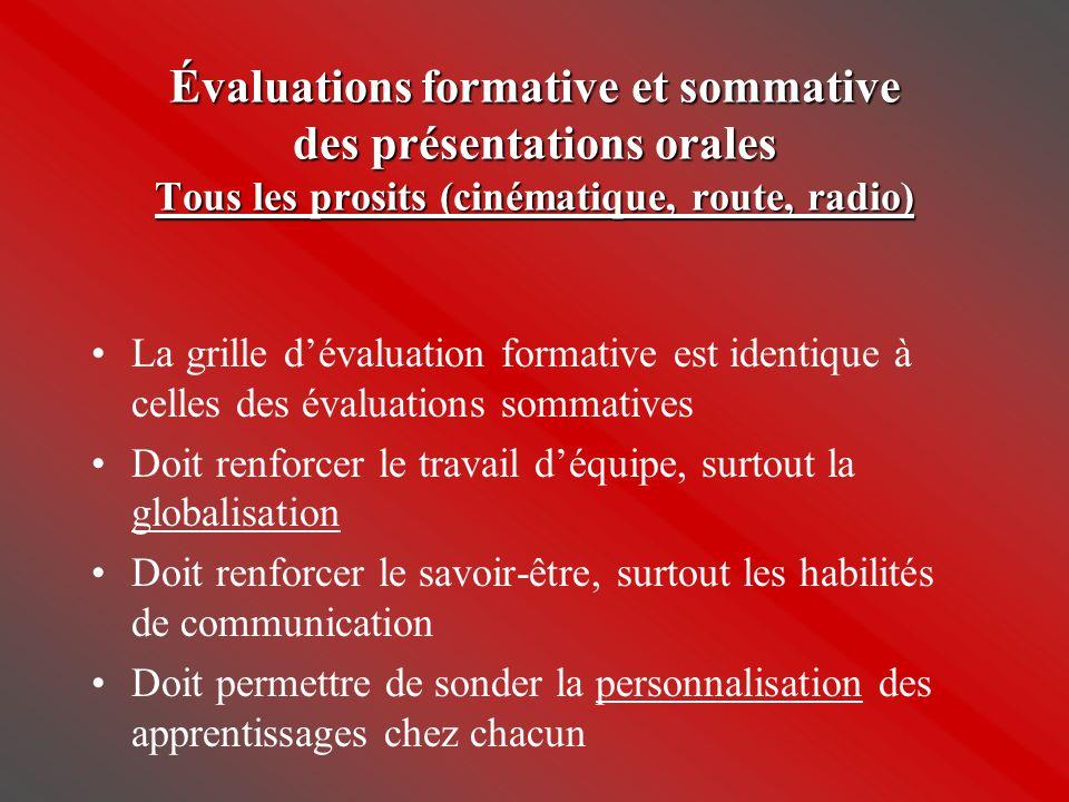 Évaluations formative et sommative des présentations orales Tous les prosits (cinématique, route, radio) •La grille d'évaluation formative est identiq
