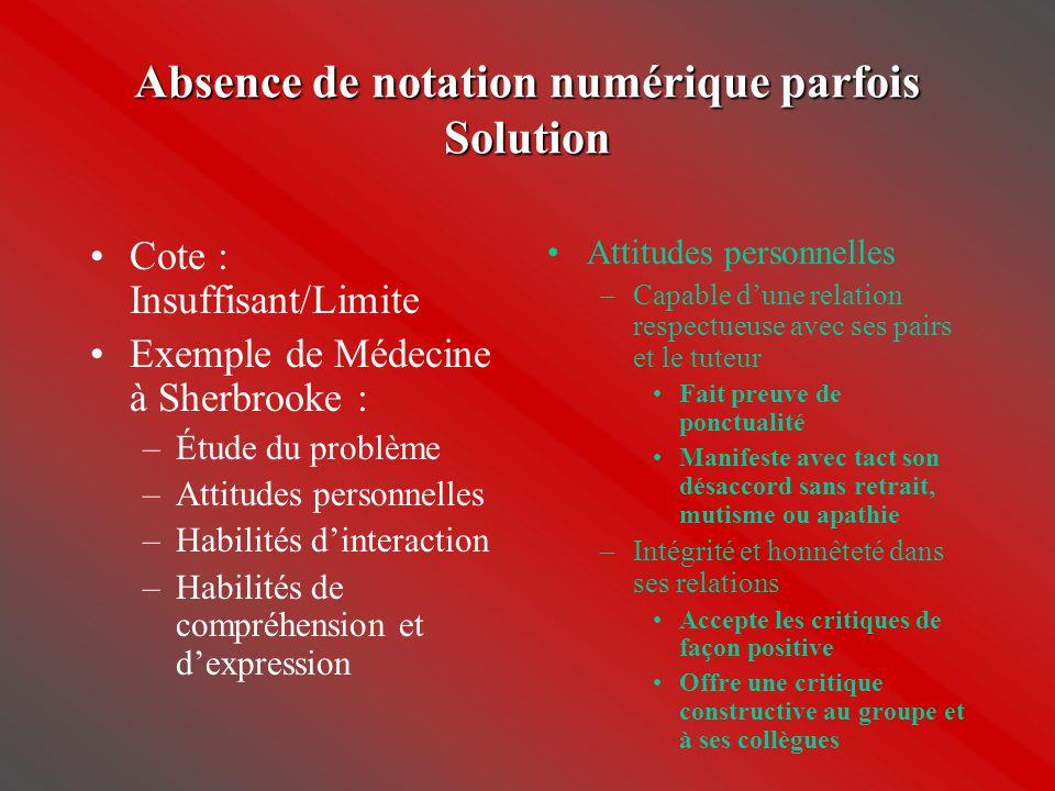 Absence de notation numérique parfois Solution •Cote : Insuffisant/Limite •Exemple de Médecine à Sherbrooke : –Étude du problème –Attitudes personnell