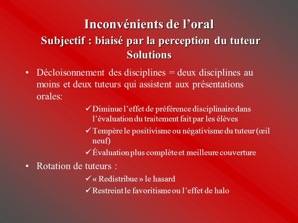 Inconvénients de l'oral Subjectif : biaisé par la perception du tuteur Solutions •Décloisonnement des disciplines = deux disciplines au moins et deux