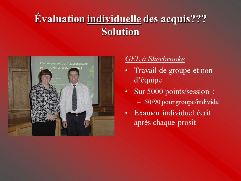 Évaluation individuelle des acquis??? Solution GEL à Sherbrooke •Travail de groupe et non d'équipe •Sur 5000 points/session : –50/90 pour groupe/indiv