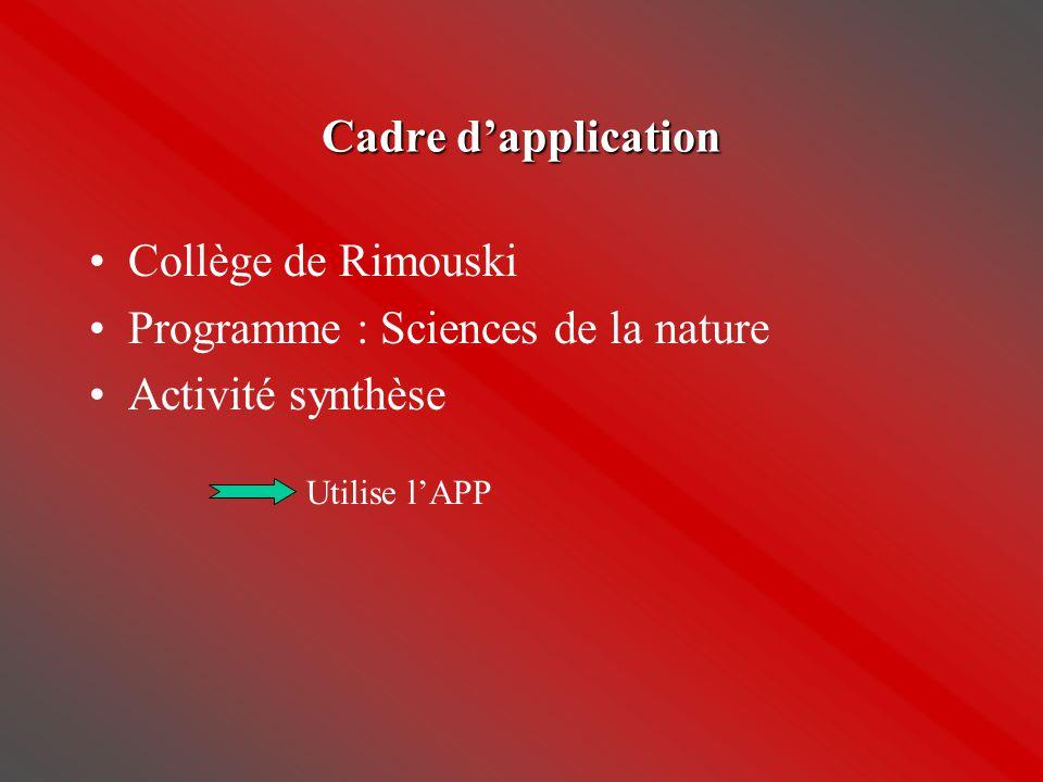 Cadre d'application •Collège de Rimouski •Programme : Sciences de la nature •Activité synthèse Utilise l'APP