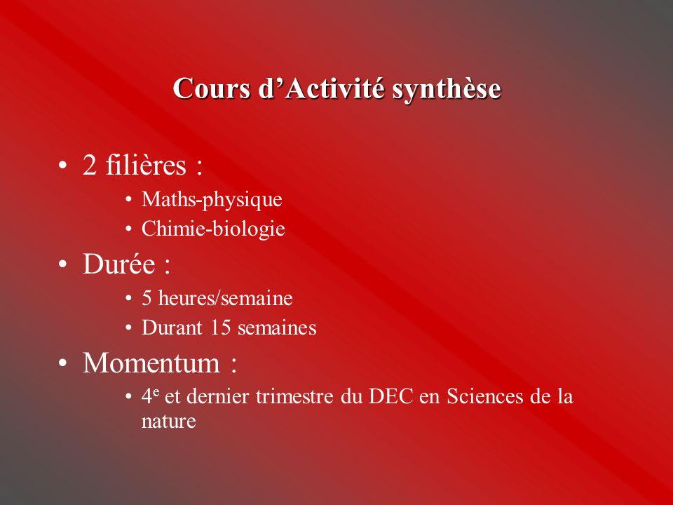 Cours d'Activité synthèse •2 filières : •Maths-physique •Chimie-biologie •Durée : •5 heures/semaine •Durant 15 semaines •Momentum : •4 e et dernier tr
