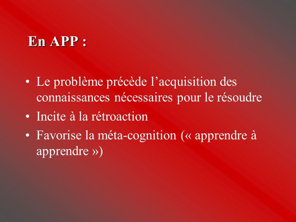 En APP : •Le problème précède l'acquisition des connaissances nécessaires pour le résoudre •Incite à la rétroaction •Favorise la méta-cognition (« app