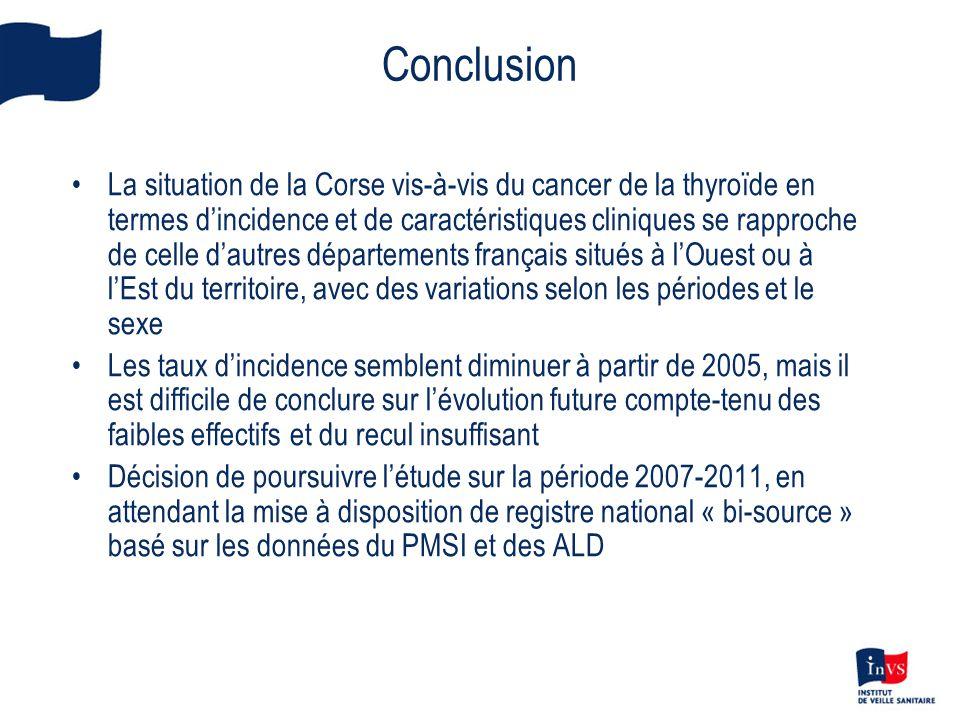 Conclusion •La situation de la Corse vis-à-vis du cancer de la thyroïde en termes d'incidence et de caractéristiques cliniques se rapproche de celle d