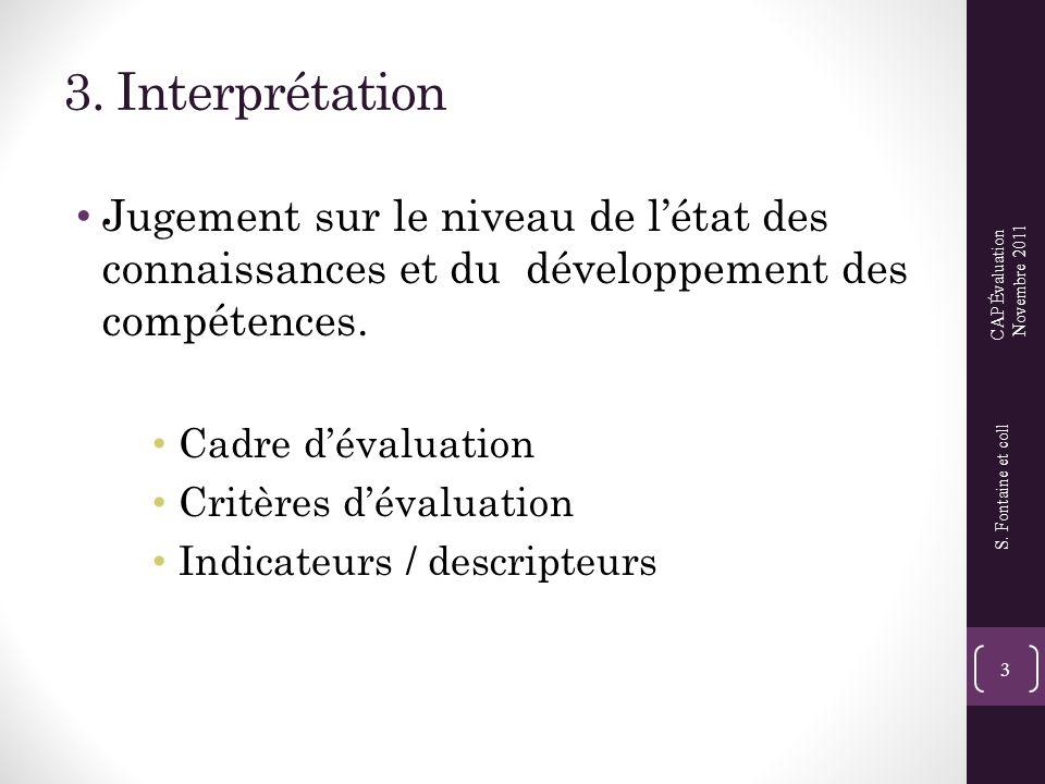 3. Interprétation • Jugement sur le niveau de l'état des connaissances et du développement des compétences. • Cadre d'évaluation • Critères d'évaluati