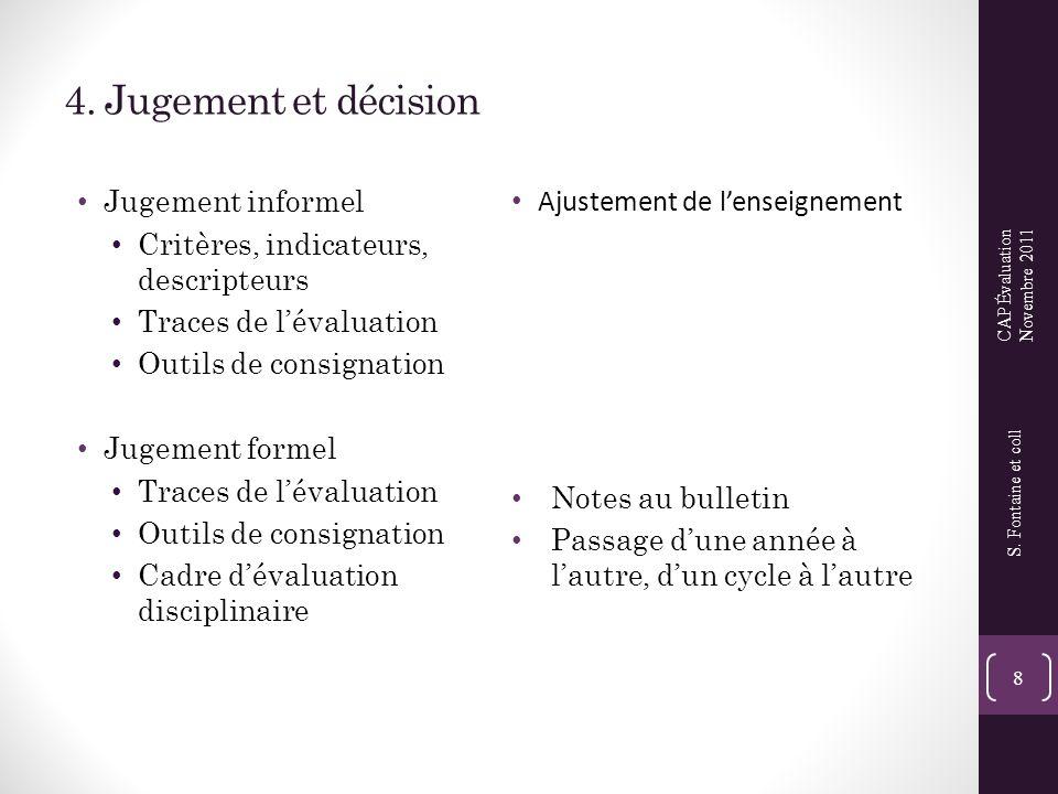 4. Jugement et décision • Jugement informel • Critères, indicateurs, descripteurs • Traces de l'évaluation • Outils de consignation • Jugement formel