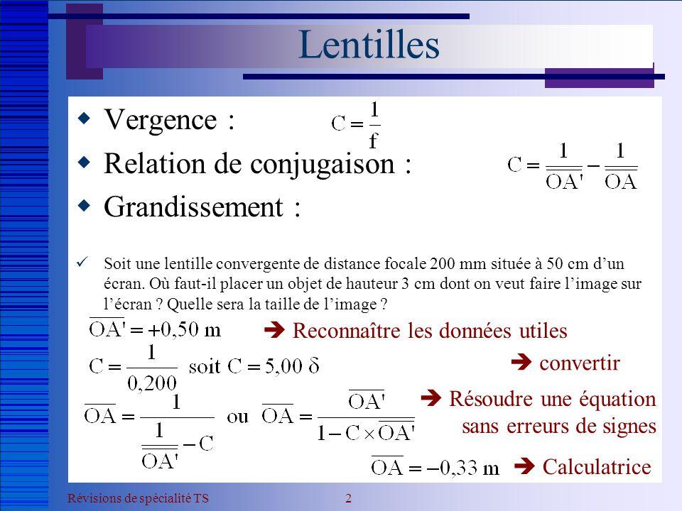 Révisions de spécialité TS 3 Lentilles  Vergence :  Relation de conjugaison :  Grandissement :  Soit une lentille convergente de distance focale 200 mm située à 50 cm d'un écran.