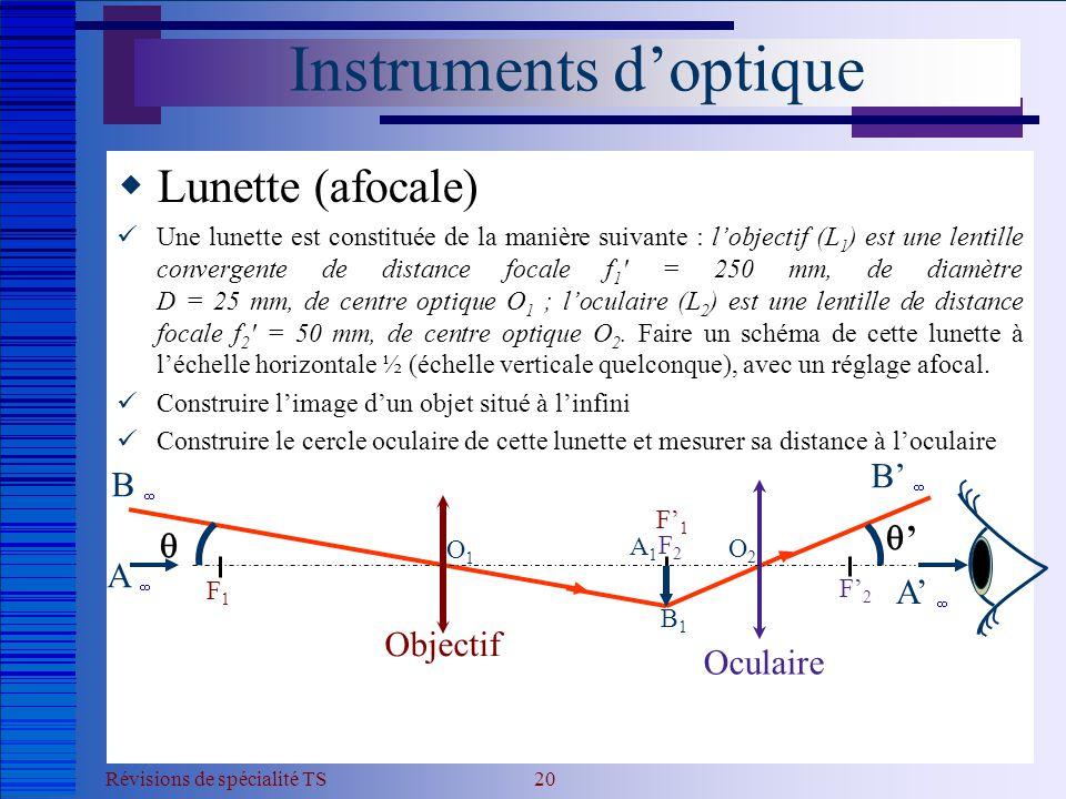 Révisions de spécialité TS 20 Instruments d'optique  Lunette (afocale)  Une lunette est constituée de la manière suivante : l'objectif (L 1 ) est un