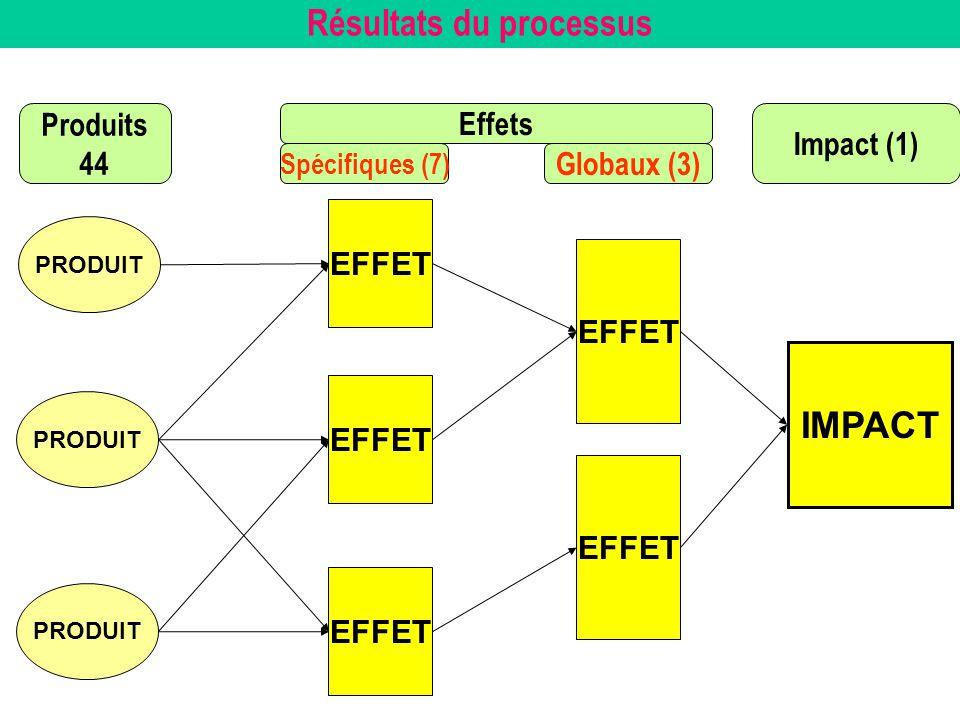 Résultats du processus PRODUIT EFFET IMPACT PRODUIT EFFET Produits 44 Effets Impact (1) Spécifiques (7) Globaux (3) EFFET