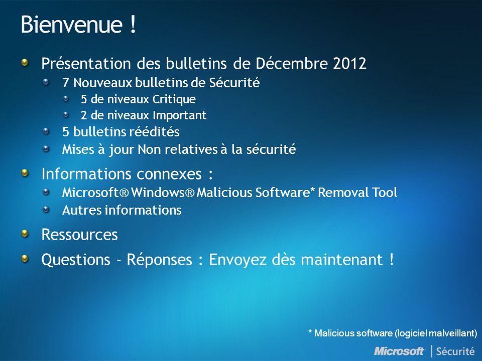 MS12-081 : Introduction et indices de gravité NuméroTitre Indice de gravité maximal Produits affectés MS12-081 Une vulnérabilité liée au composant de traitement des fichiers dans Windows pourrait permettre l exécution de code à distance (2758857) Critique •Windows XP (Toutes les versions supportées) •Windows Server 2003 (Toutes les versions supportées) •Windows Vista (Toutes les versions supportées) •Windows Server 2008 (Toutes les versions supportées) •Windows 7 (Toutes les versions supportées) •Windows Server 2008 R2 (Toutes les versions supportées)