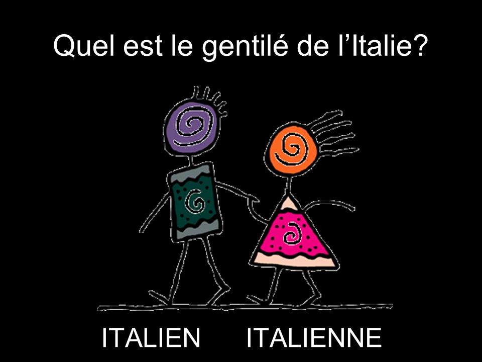 Quel est le gentilé de l'Italie? ITALIENITALIENNE