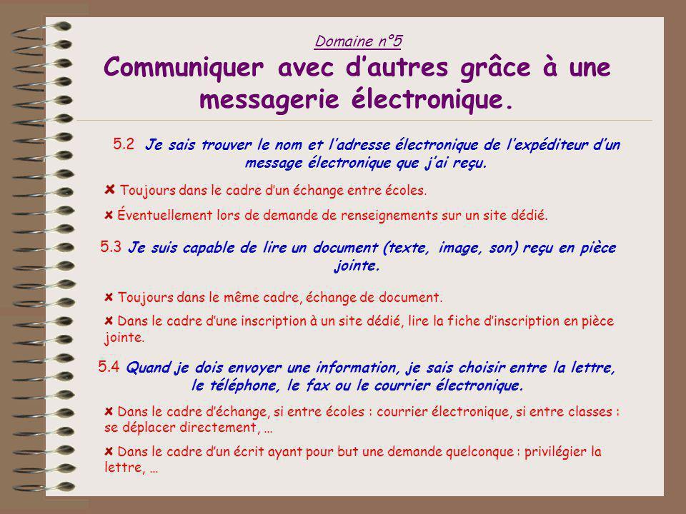 Domaine n°5 Communiquer avec d'autres grâce à une messagerie électronique. 5.1a Je sais envoyer un message électronique à un ou plusieurs destinataire