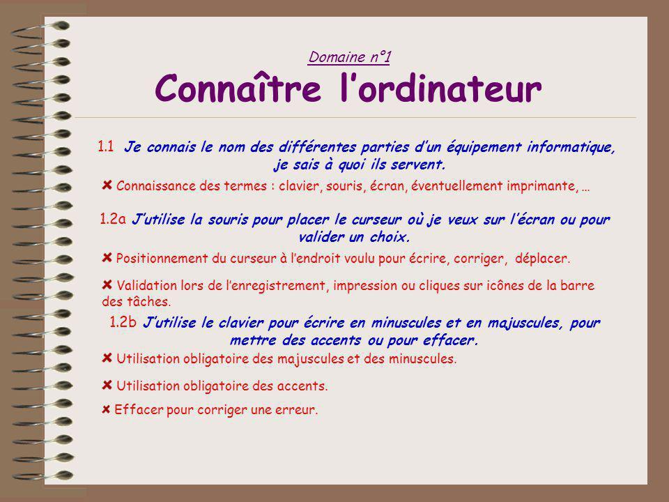 Domaine n°1 Connaître l'ordinateur 1.1 Je connais le nom des différentes parties d'un équipement informatique, je sais à quoi ils servent.