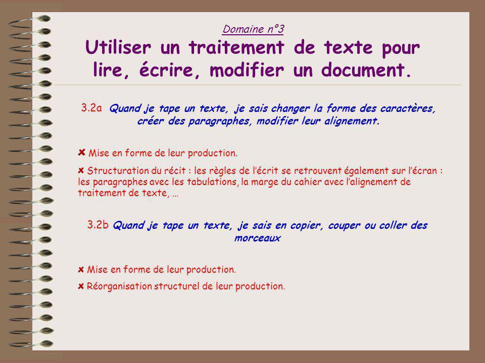 Domaine n°3 Utiliser un traitement de texte pour lire, écrire, modifier un document. 3.1a Avec le traitement de texte, je sais ouvrir et consulter un