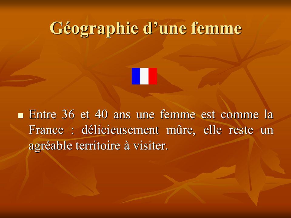 Géographie d'une femme  Entre 36 et 40 ans une femme est comme la France : délicieusement mûre, elle reste un agréable territoire à visiter.