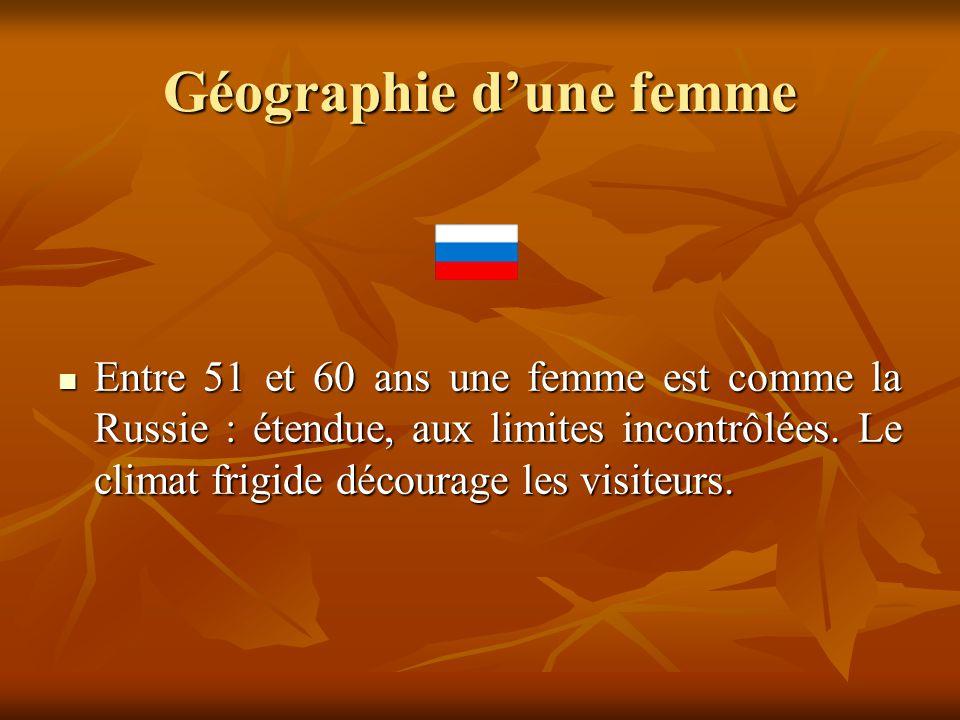 Géographie d'une femme  Entre 51 et 60 ans une femme est comme la Russie : étendue, aux limites incontrôlées. Le climat frigide décourage les visiteu
