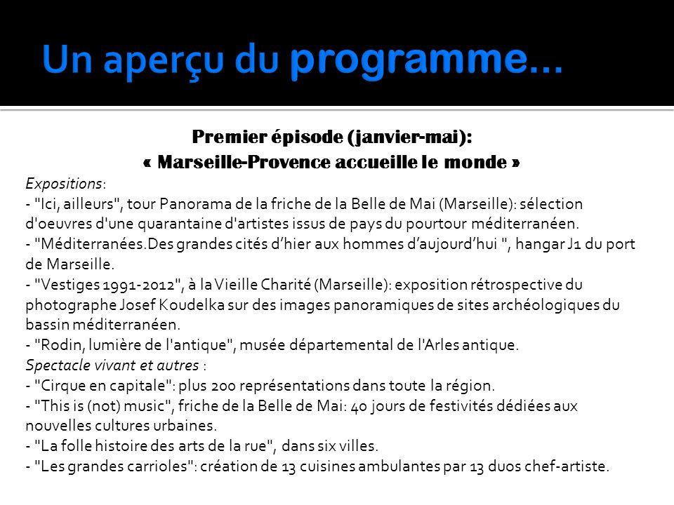 Premier épisode (janvier-mai): « Marseille-Provence accueille le monde » Expositions: -