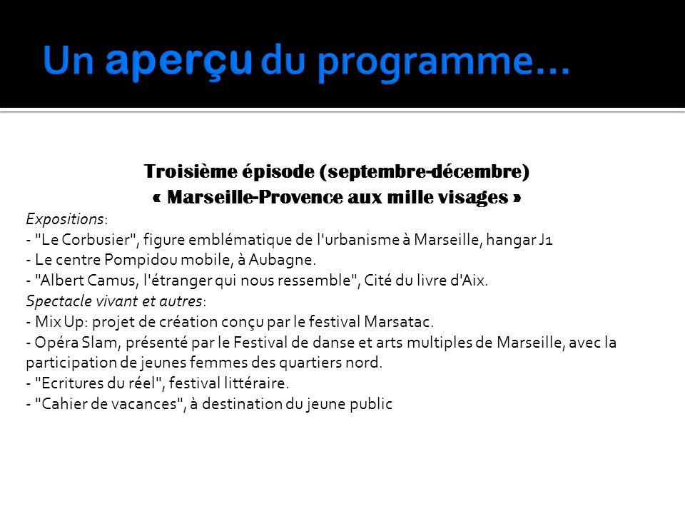 Troisième épisode (septembre-décembre) « Marseille-Provence aux mille visages » Expositions: -
