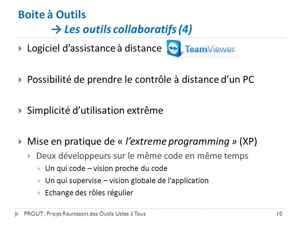 Boite à Outils → Les outils collaboratifs (4) PROUT : Projet Réunissant des Outils Utiles à Tous10  Logiciel d'assistance à distance  Possibilité de