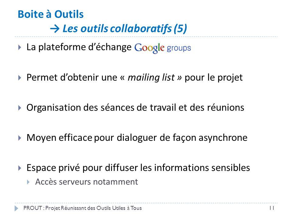 Boite à Outils → Les outils collaboratifs (5) PROUT : Projet Réunissant des Outils Utiles à Tous11  La plateforme d'échange  Permet d'obtenir une «