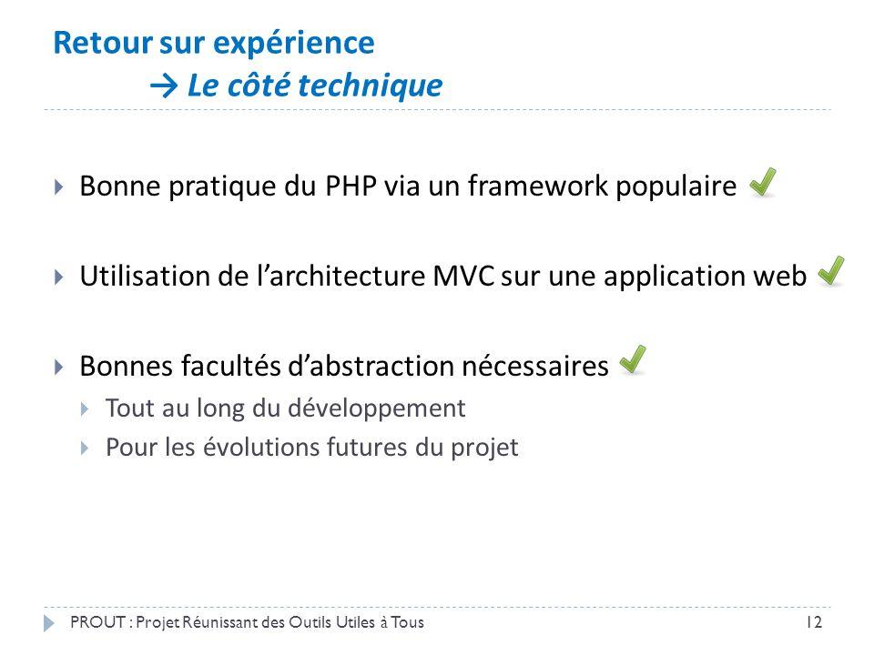 Retour sur expérience → Le côté technique PROUT : Projet Réunissant des Outils Utiles à Tous12  Bonne pratique du PHP via un framework populaire  Ut