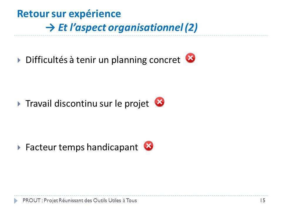 Retour sur expérience → Et l'aspect organisationnel (2) PROUT : Projet Réunissant des Outils Utiles à Tous15  Difficultés à tenir un planning concret