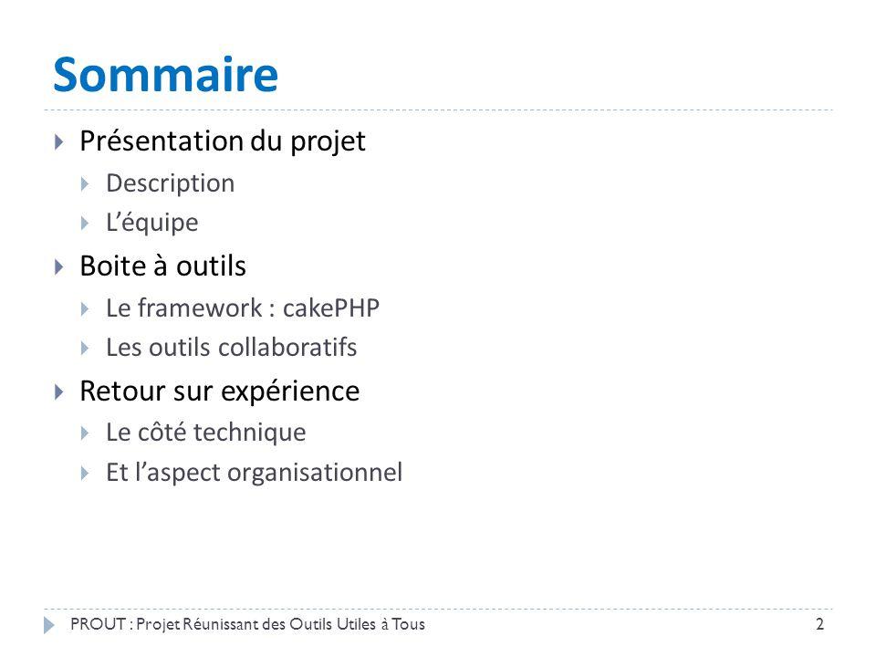 Sommaire  Présentation du projet  Description  L'équipe  Boite à outils  Le framework : cakePHP  Les outils collaboratifs  Retour sur expérienc