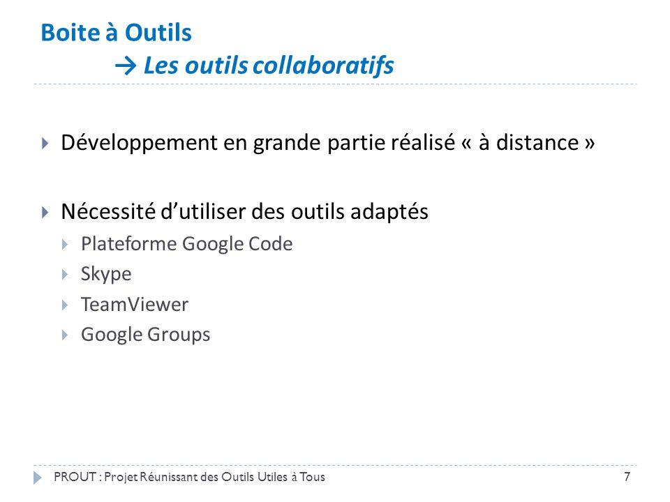 Boite à Outils → Les outils collaboratifs PROUT : Projet Réunissant des Outils Utiles à Tous7  Développement en grande partie réalisé « à distance »