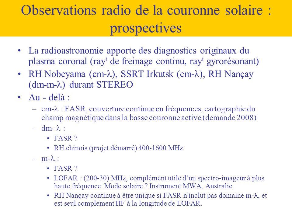 •La radioastronomie apporte des diagnostics originaux du plasma coronal (ray t de freinage continu, ray t gyrorésonant) •RH Nobeyama (cm-  ), SSRT Ir
