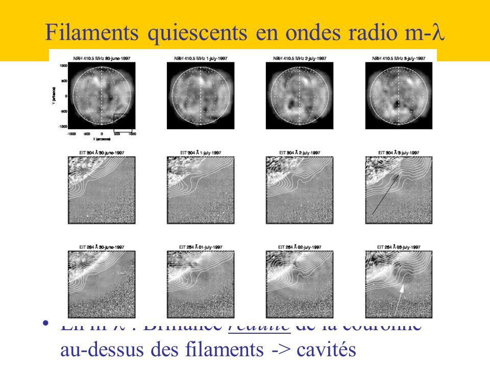 Filaments quiescents en ondes radio m-  •En m-  : Brillance réduite de la couronne au-dessus des filaments -> cavités