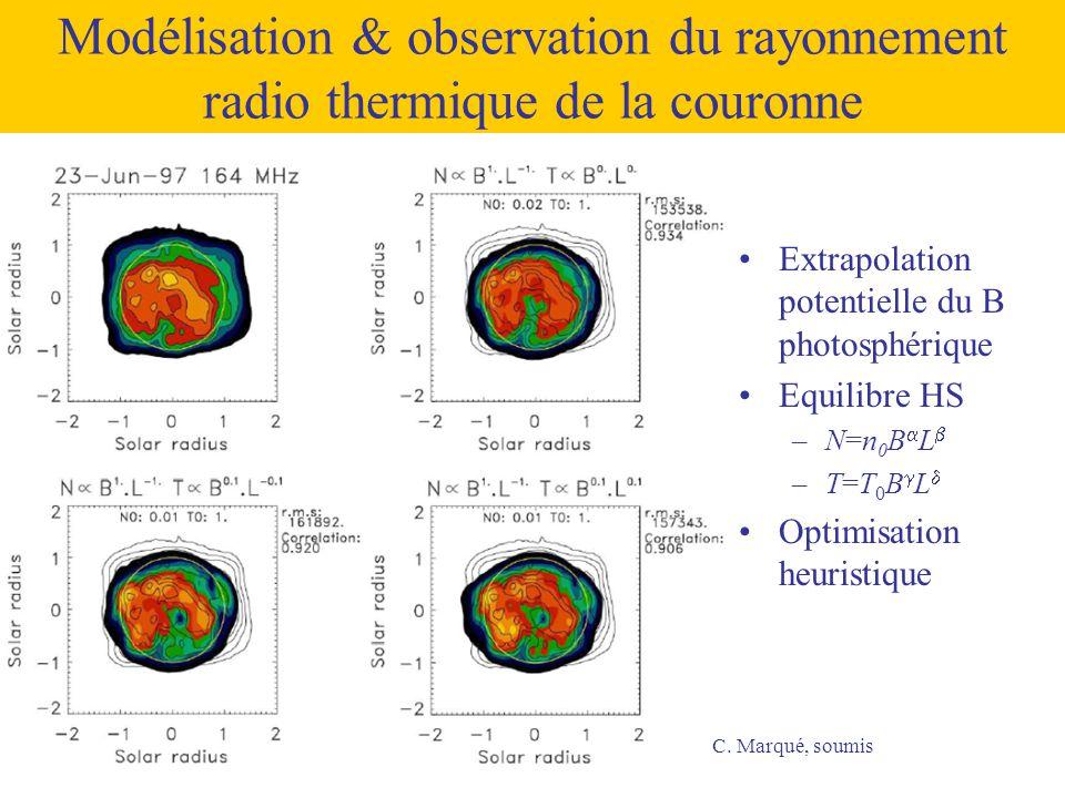 Modélisation & observation du rayonnement radio thermique de la couronne •Extrapolation potentielle du B photosphérique •Equilibre HS –N=n 0 B  L  –
