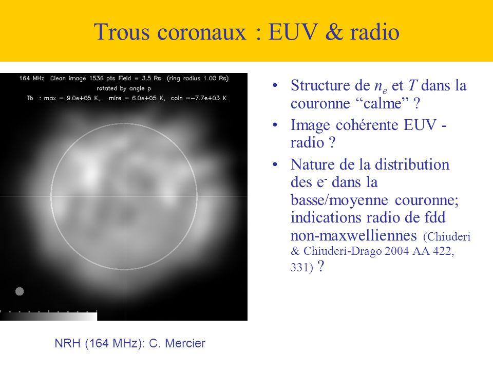 """NRH (164 MHz): C. Mercier Trous coronaux : EUV & radio •Structure de n e et T dans la couronne """"calme"""" ? •Image cohérente EUV - radio ? •Nature de la"""