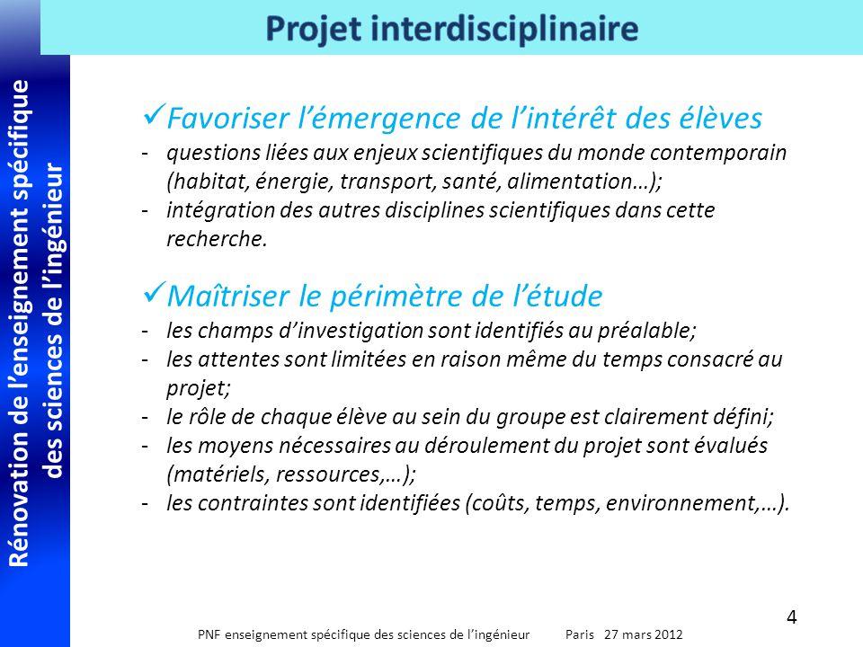 Rénovation de l'enseignement spécifique des sciences de l'ingénieur PNF enseignement spécifique des sciences de l'ingénieur Paris 27 mars 2012  Favor