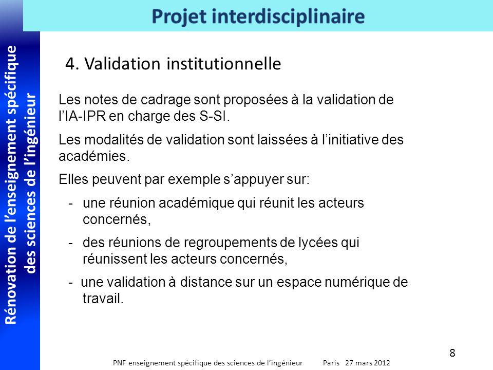 Rénovation de l'enseignement spécifique des sciences de l'ingénieur PNF enseignement spécifique des sciences de l'ingénieur Paris 27 mars 2012 4. Vali