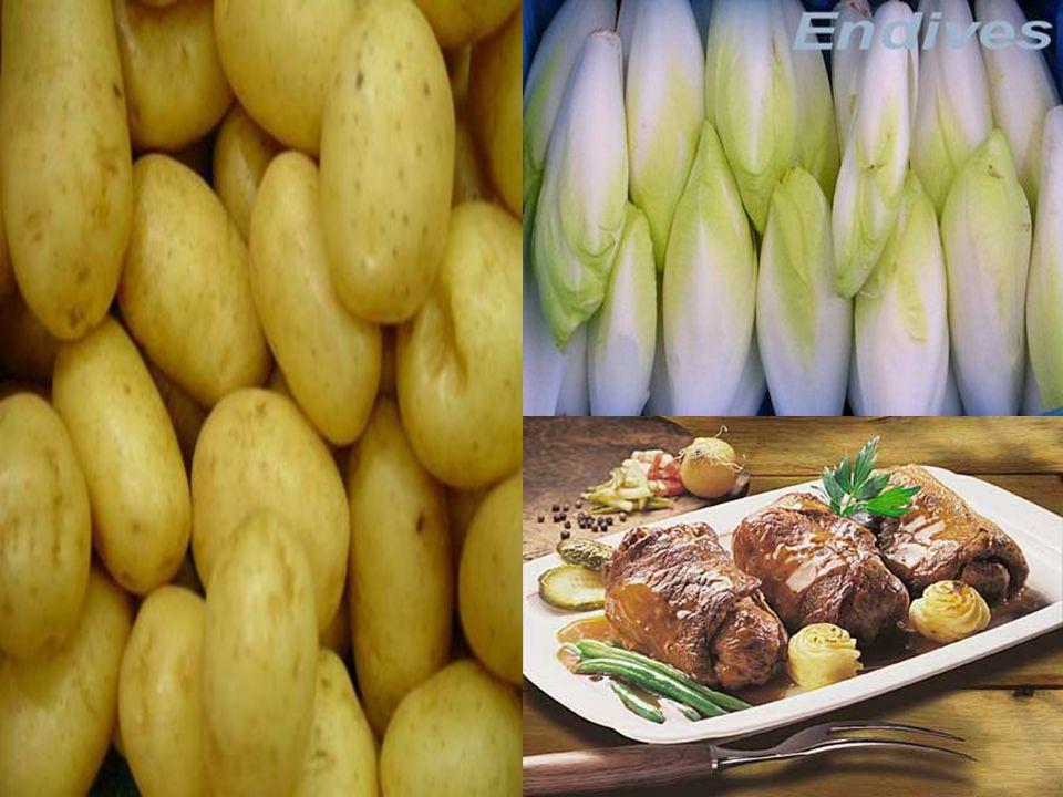  La cuisine du Nord, marquée par des influences flamandes, se sert: • de la pomme de terre • du porc • des endives • de la bière