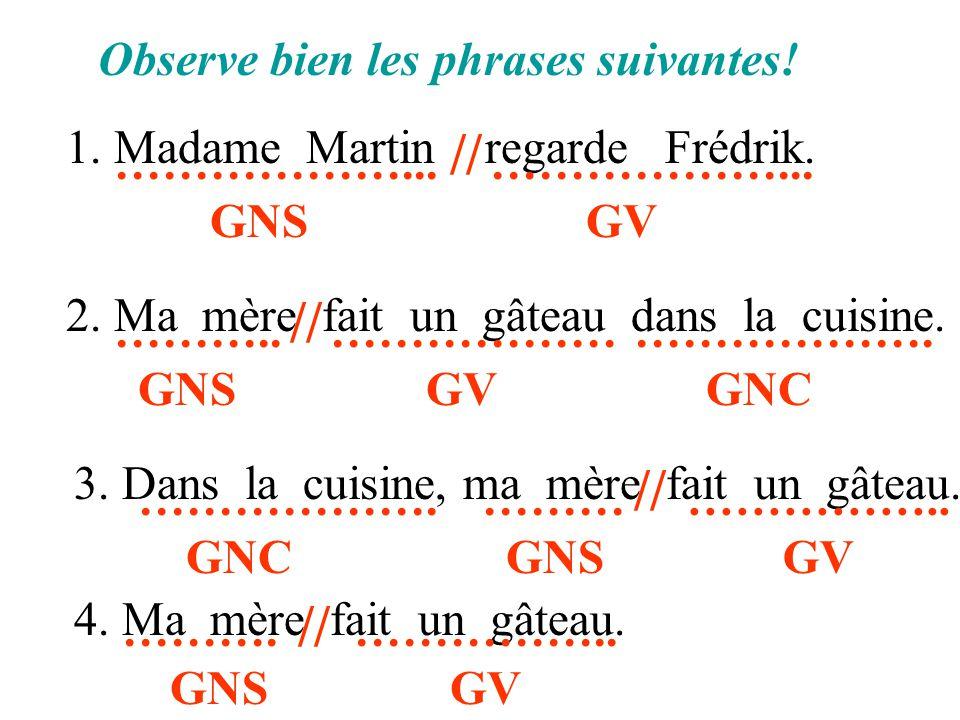 Observe bien les phrases suivantes! 1. Madame Martin regarde Frédrik. 2. Ma mère fait un gâteau dans la cuisine. // ………………... GNS ………………... GV // ……….