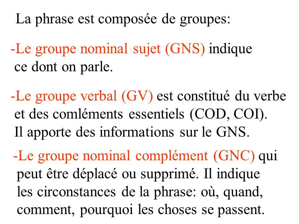 La phrase est composée de groupes: -Le groupe nominal sujet (GNS) indique ce dont on parle. -Le groupe verbal (GV) est constitué du verbe et des comlé