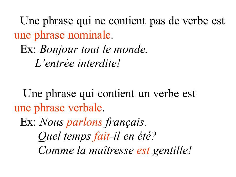 Une phrase qui ne contient pas de verbe est une phrase nominale. Ex: Bonjour tout le monde. L'entrée interdite! Une phrase qui contient un verbe est u