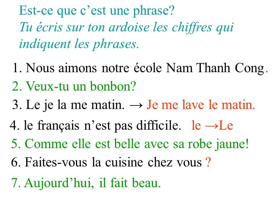 Est-ce que c'est une phrase? Tu écris sur ton ardoise les chiffres qui indiquent les phrases. 1. Nous aimons notre école Nam Thanh Cong 2. Veux-tu un