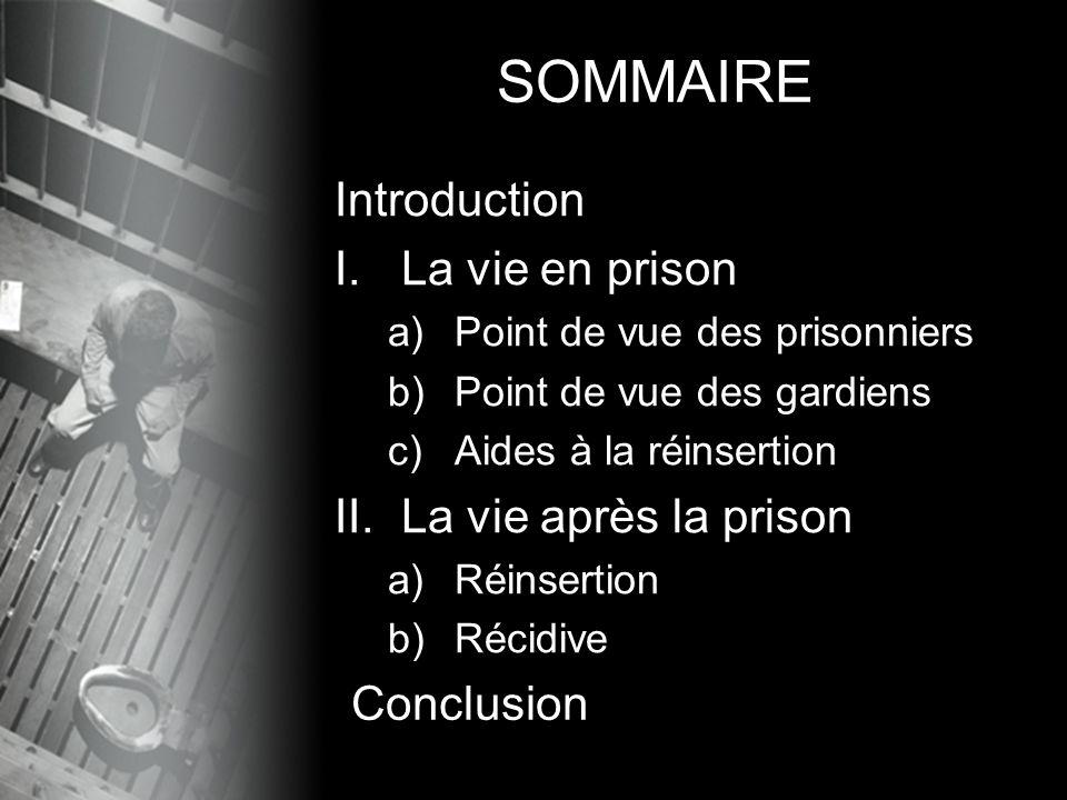 Introduction I.La vie en prison a)Point de vue des prisonniers b)Point de vue des gardiens c)Aides à la réinsertion II.La vie après la prison a)Réinse