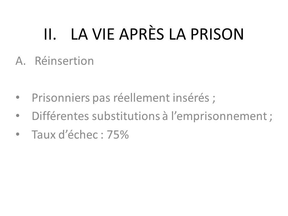 II.LA VIE APRÈS LA PRISON A. Réinsertion • Prisonniers pas réellement insérés ; • Différentes substitutions à l'emprisonnement ; • Taux d'échec : 75%