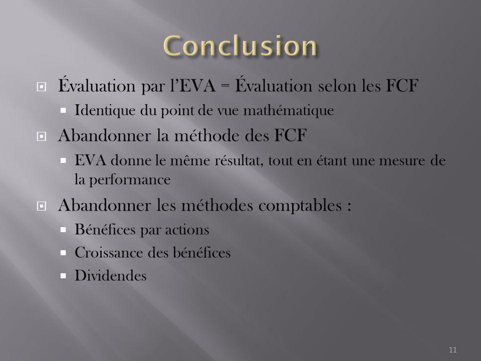  Évaluation par l'EVA = Évaluation selon les FCF  Identique du point de vue mathématique  Abandonner la méthode des FCF  EVA donne le même résultat, tout en étant une mesure de la performance  Abandonner les méthodes comptables :  Bénéfices par actions  Croissance des bénéfices  Dividendes 11