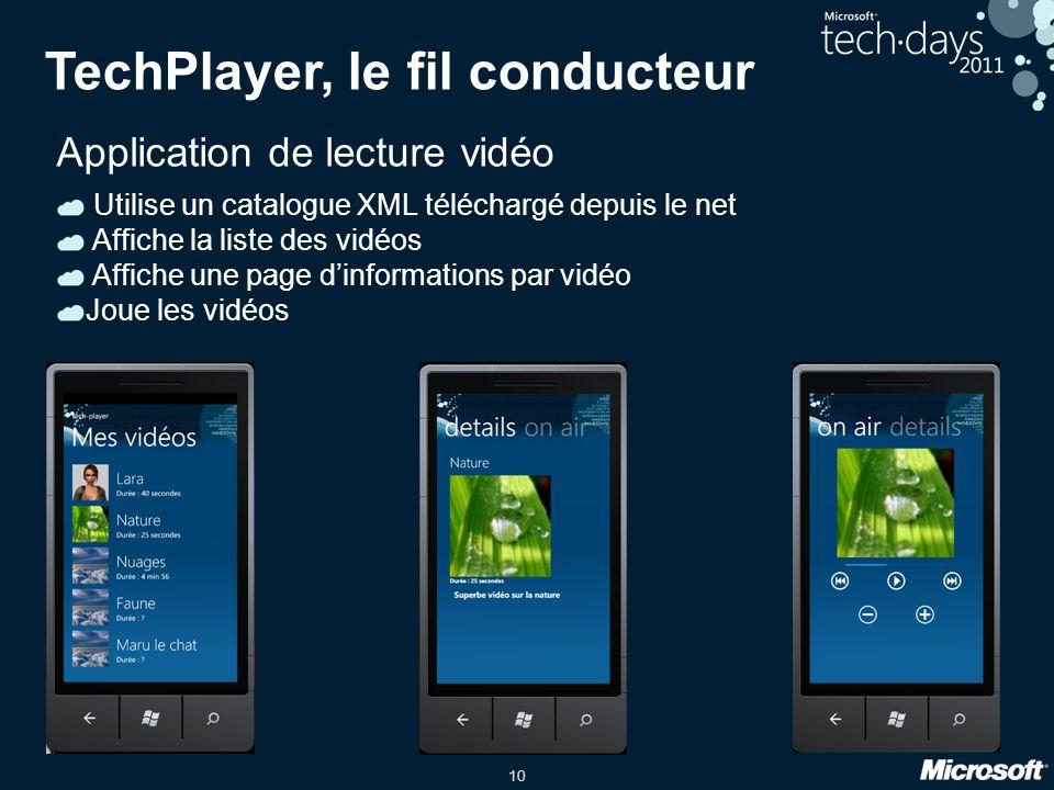 10 TechPlayer, le fil conducteur Application de lecture vidéo Utilise un catalogue XML téléchargé depuis le net Affiche la liste des vidéos Affiche un