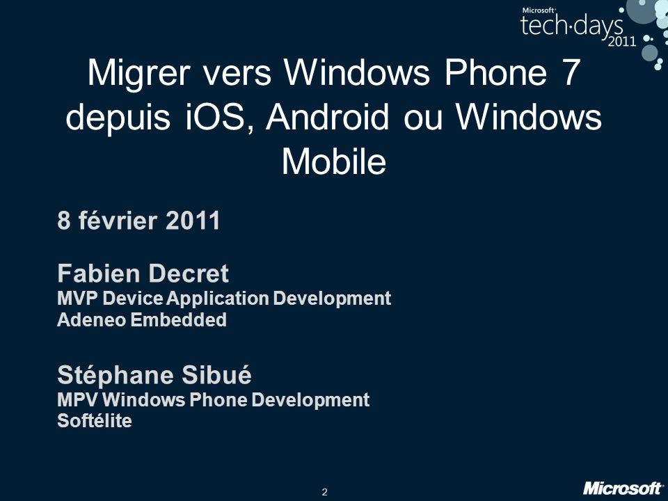 2 Migrer vers Windows Phone 7 depuis iOS, Android ou Windows Mobile 8 février 2011 Fabien Decret MVP Device Application Development Adeneo Embedded St