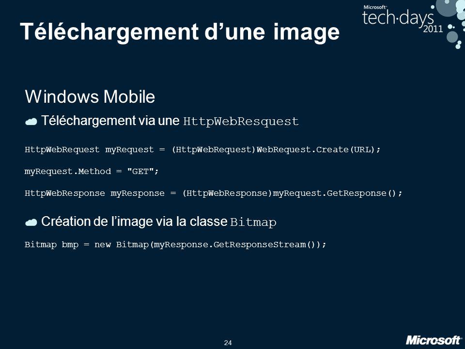 24 Téléchargement d'une image Windows Mobile Téléchargement via une HttpWebResquest HttpWebRequest myRequest = (HttpWebRequest)WebRequest.Create(URL);