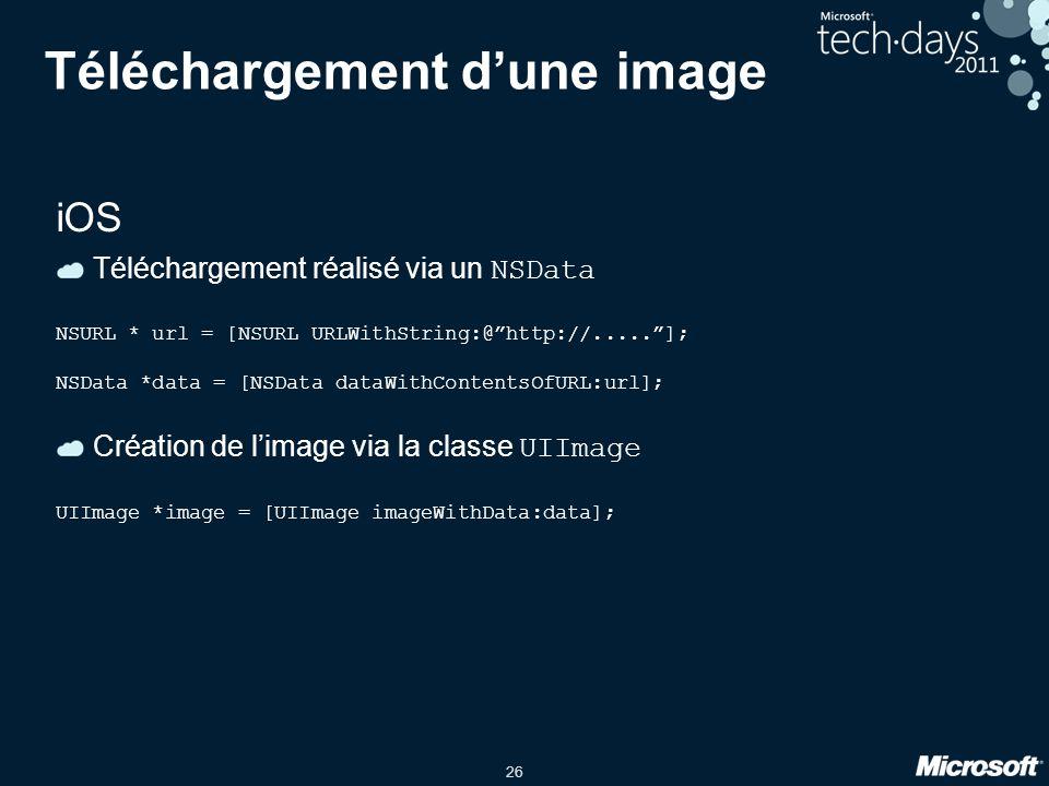 """26 Téléchargement d'une image iOS Téléchargement réalisé via un NSData NSURL * url = [NSURL URLWithString:@""""http://.....""""]; NSData *data = [NSData dat"""