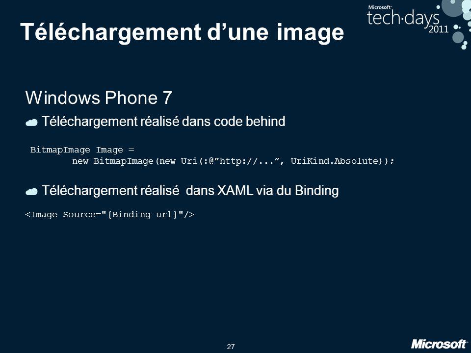 """27 Téléchargement d'une image Windows Phone 7 Téléchargement réalisé dans code behind BitmapImage Image = new BitmapImage(new Uri(:@""""http://..."""", UriK"""